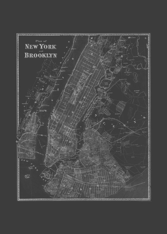 Brooklyn nyc map blueprint map of brooklyn and new york like this item malvernweather Gallery