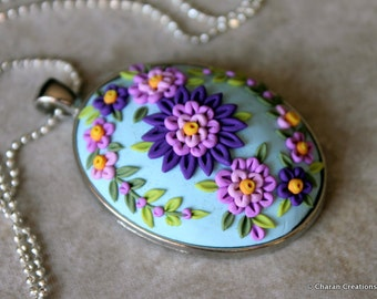 Gorgeous Polymer Clay Applique Statement Pendant Necklace in Purples and Aqua