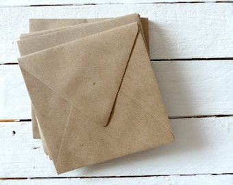 50 envelopes Brown recycled paper of 15x15cm