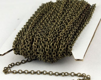 100 ft. of Antique Brass Finished SOLDERED Cable Chain - 3.2x2.8mm SOLDERED LInk
