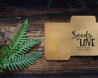 25 Seeds of Love Seed Packets Wedding Favors Personalized Envelope - Rustic, Kraft, Baby, Bridal, Handmade, Custom, Unique