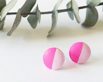 Wood Stud Earrings, Magenta + Light Pink