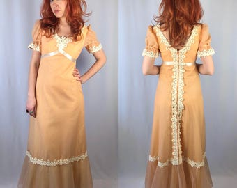 Vintage 1970's Peach Maxi Dress Floral Lace Trim Prom Gown Small