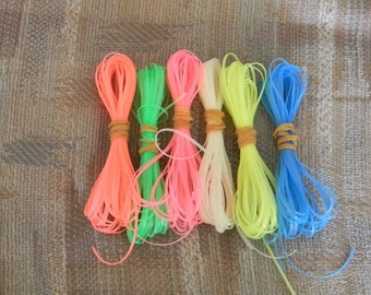 Lot of Rexlace boondoggle plastic lace gimp in Glow in the dark colors 60 yards total