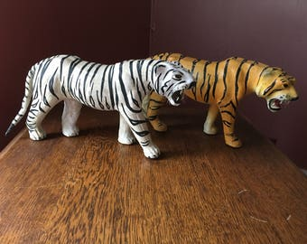 Large Vintage Leather Tiger/ Wild Cat Statue/ Figurine With Glass Eyes
