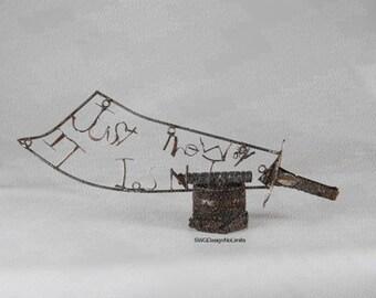 Metalworking Typographic Sword Sculpture- The Way it Isn't