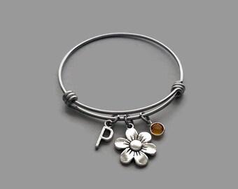 Flower Charm Bracelet, Flower Bracelet, Flower Jewelry, Initial Bracelet, Birthstone Bracelet, Personalized Jewelry, Stainless Steel