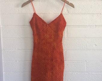 Vintage 90s Crochet Orange Ombre Dress