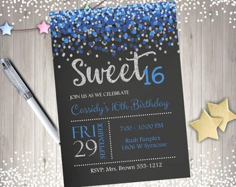 Sweet 16 Invitation sweet 16 birthday invitation sweet sixteen birthday party confetti royal blue navy silver digital DIY printable