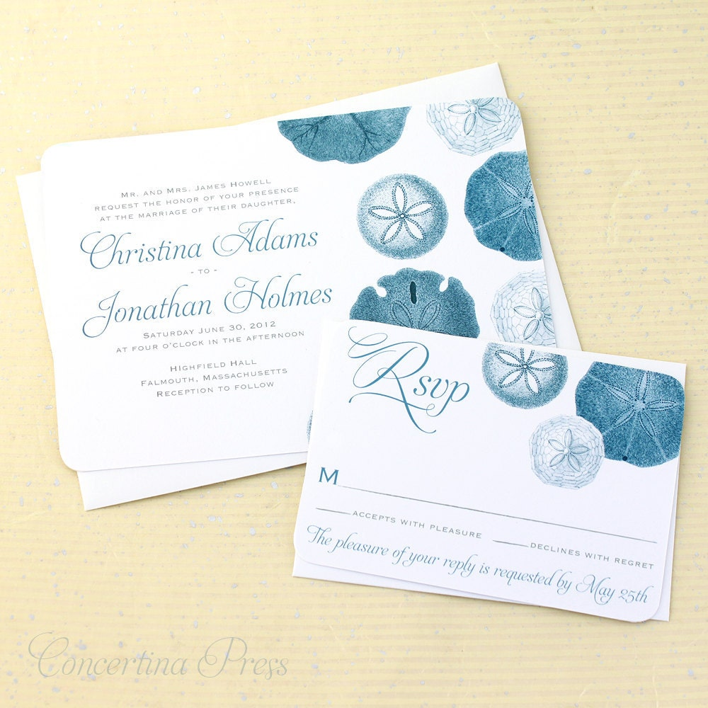 Beach Wedding Invitation Sand Dollar Wedding Invitation Set