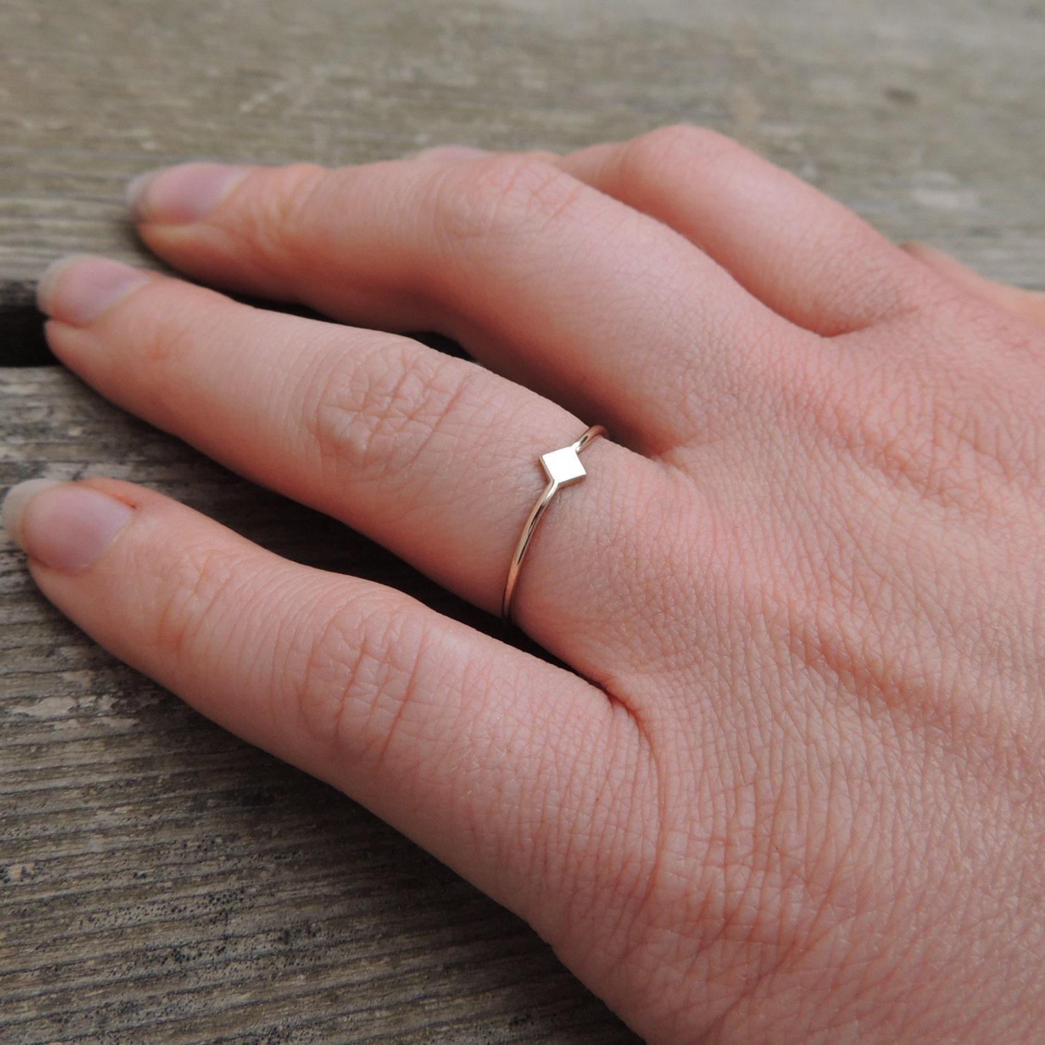 Geometric Ring Diamond of Gold or Silver Stacking ring Ring