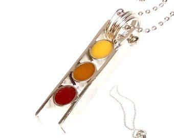 Reversible Petite Ladder Column Silver Pendant Necklace Colored Orange Purple