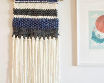 Wall Hanging - Knitted / Woven Wall Hanging - Grey, Blue, Cream