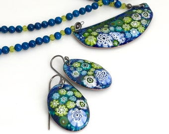 Enamel Pendant and Earring Set, Enameled Jewelry, Blue and Green Earrings and Copper Pendant On Long Beaded Chain, Flower Garden Design