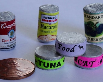 Canned Doll Food, 1:6 scale, doll food, Barbie food, cans of food, mac and cheese, tiny food, food for dolls, doll house, barbie house, can