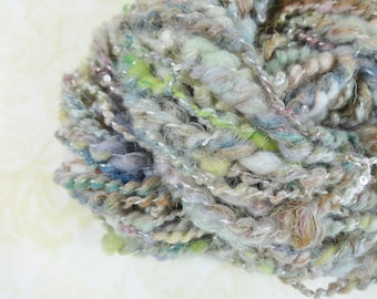 Handspun Yarn Bulky Coil Spun Sparkly Art Yarn Scrapbag 30 yards multicolor
