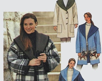 ON SALE Woman's Coat Reversible Barn Jacket Shawl Collar Coat Sewing Pattern Butterick 3596 Size L-Xl