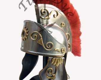 NEW design roman helmet with red plum & innar liner a great nikil  finshied  replica product