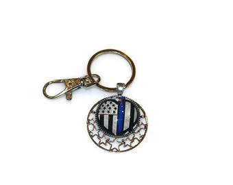 Police Key Ring, Thin Blue Line, Key Fob, Police Officer Wife, Support our Heroes in Blue, Police Flag