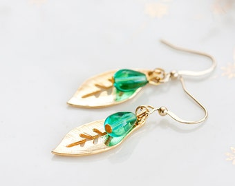 Mint Drop Leaf Earrings Gold Leaf Green Teardrop Earrings Simple Leaf Dangle Earrings Nature Jewelry - E185