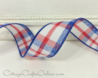 """Plaid Wired Ribbon, 1 1/2"""" Red, White, Blue Check - THREE YARDS -  """"American Chic"""", Summer/ July 4th / Patriotic / Wire Edged Ribbon"""