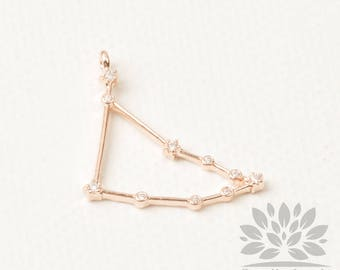 P932-RG-12// Star Sign Series// Rose Gold Plated Cubic Capricorn Sign Pendant, 1pc