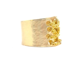 Modern Corset Ring - Wide Gold Band - Personalized Ring - BDSM, Unique Gift for HER