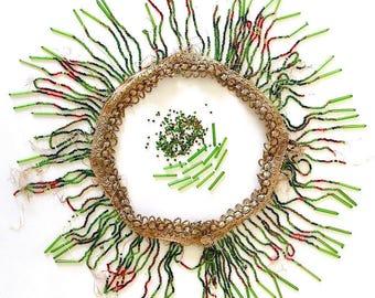 Vintage Glass Beads. Tube Beads. Seed Beads. Medium/Dark Green. Topaz. Light/DarkRed. Rocailles. Beaded Fringe. Mixed Lot. Antique [5]