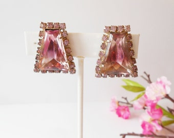 Vintage Rose Glass Earrings, Sparkly Earrings, Costume Jewelry, Clip-On,Rose and Rhinestone, Glamorous Earrings