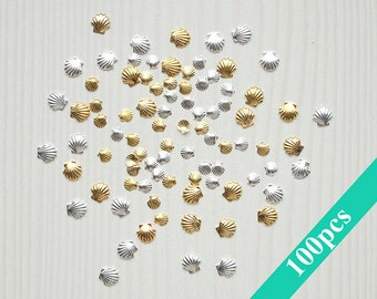 Set of 100 pcs seashell nail charms in gold and silver colors and 2 sizes/ 3mm nail seashells/ 5mm nail seashells/ 3D nail decorations
