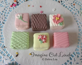 FAUX PETIT FOUR Set of six Fake Mini Cakes Tea Party Food Prop Photo Kitchen Decor