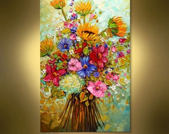 Oil painting contemporary Summer Bouquet  Abstract  by Nizamas hand painted ready to hang