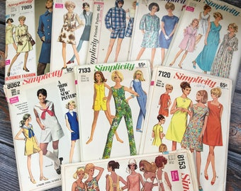 Vintage Sewing Patterns, 1960s Patterns, Simplicity Patterns, Vintage Pattern, Size 14, Ladies Size 16, Pattern Lot, Simplicity, 1960s