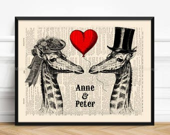 Wedding Giraffes, Wife Gift, His 40th Birthday, Christmas Gifts, Gift For Couples, 15 Anniversary Gift, Valentines Day Gift, Teen Girl 516