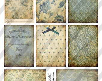 Digital Collage Sheet Victorian Blue  Background Images (Sheet no. O202) Instant Download