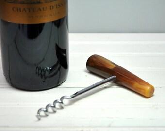 Vintage 1950s antler corkscrew, brown resin, brown faux antler, vintage barware corkscrew