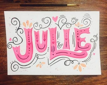 Watercolor Name, Personalized Watercolor