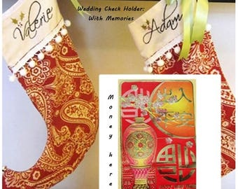 Wedding Check Holder - Custom Hand Embroidered Christmas Stockings - Elf Style -  with Names on Red and White Paisley-