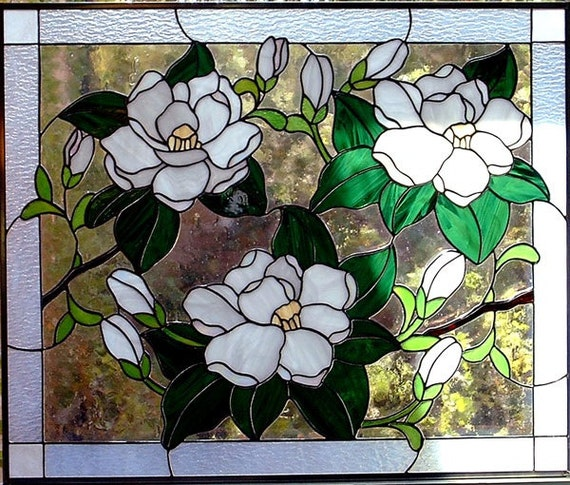 Magnolias Stained Glass Window Panel Choice Of 3 Variations