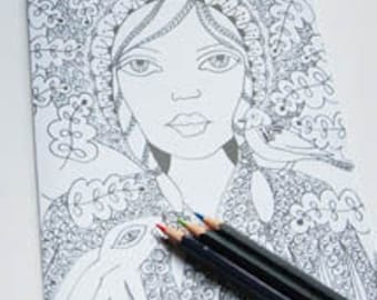 Woodland Child Colouring Page  CP001