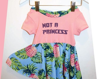 Dress with bow on back, back neckline, casual girl dress, feminism girl power, not a princess, tropical, Flowers + stripes,