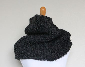 READY TO SHIP - Chunky Knit Cowl, Chunky Knit Scarf, Charcoal, Nitrogen Cowl