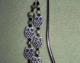 Wise Owls beaded shepherd's-crook bookmark