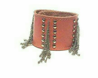 Leather and steel tassle cuff