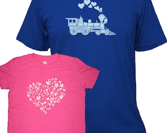 Valentines Day Matching Father Daughter Shirts, Train and Hearts T shirts, gift, new dad shirt, father daughter, gift for dad, set