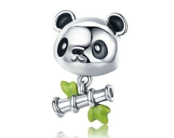 Lovely Panda & Bamboo Charm 100% 925 Sterling Silver pandora