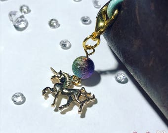 Rainbow unicorn charm in gold for planner, travelers notebook, bag, keyring or zipper pull clip charm