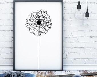 Dandelion print black and white wall art print monochrome print scandi print nordic dandelion wall art modern print line drawing wall art