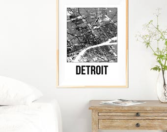 Detroit City Map Print - Black and White Minimalist City Map - Detroit Map - Detroit Print - Many Sizes/Colours Available