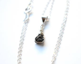 Raw Diamond Necklace, Mother Gift, Stone Necklace, Dainty Sterling Silver Crystal Necklace, Black Diamond Pendant, April Birthstone